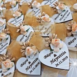 ŞENNUR - Ahşap Kalp Söz Nişan Nikah Hediyeliği 2665