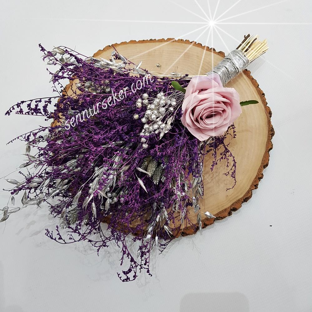 ŞENNUR - Doğal Kuru Çiçekli Gelin Buketi 2974