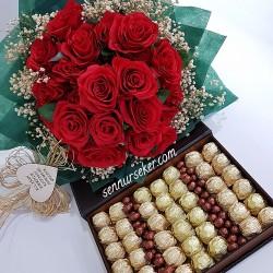 ŞENNUR - İsteme Çiçek ve Çikolatası Takım 2471