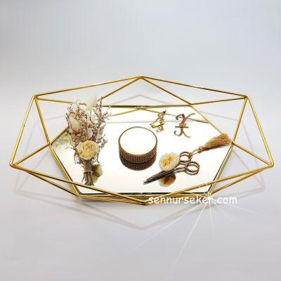 Kırçiçekli Gold Nişan Yüzük Tepsisi 2576