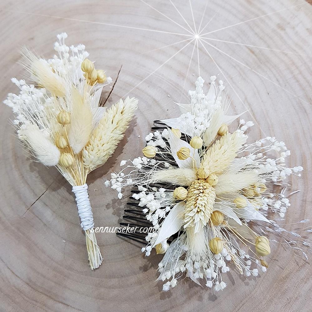 ŞENNUR - Kuru Çiçekli Gelin Çiçeği Ve Damat Çiçeği 3000