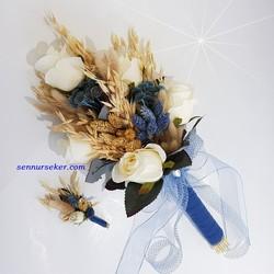 ŞENNUR - Mavi Naturel Kuru Çiçekli Gelin Çiçeği 2722