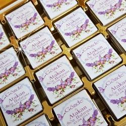 Mor Kelebekli Söz, Nişan, Nikah Çikolatası T2562 - Thumbnail