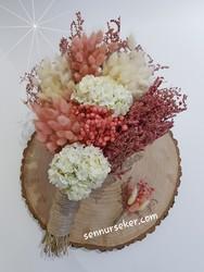ŞENNUR - Pudra Kuru Çiçek Gelin Buketi 2744