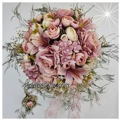 ŞENNUR - Pudra Kuru Çiçekli Gelin Buketi 2659