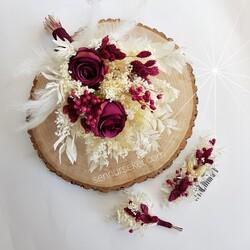 ŞENNUR - Takım Gelin Buketi Tacı, Damat Yaka Çiçeği 2796