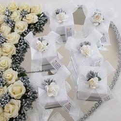 ŞENNUR - Tasarım Beyaz Kutu Nikah Şekeri 2749