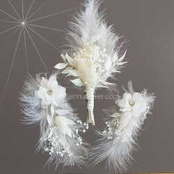 ŞENNUR - Tasarım Gelin Küpesi, Damat Yaka Çiçeği 2862