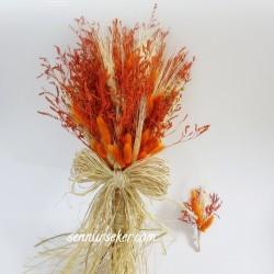 ŞENNUR - Turuncu Kuru Çiçekli Gelin Buketi 2499